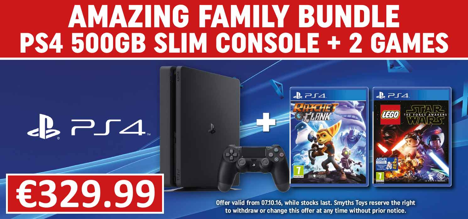 PS4 500GB Slim Console with two select games