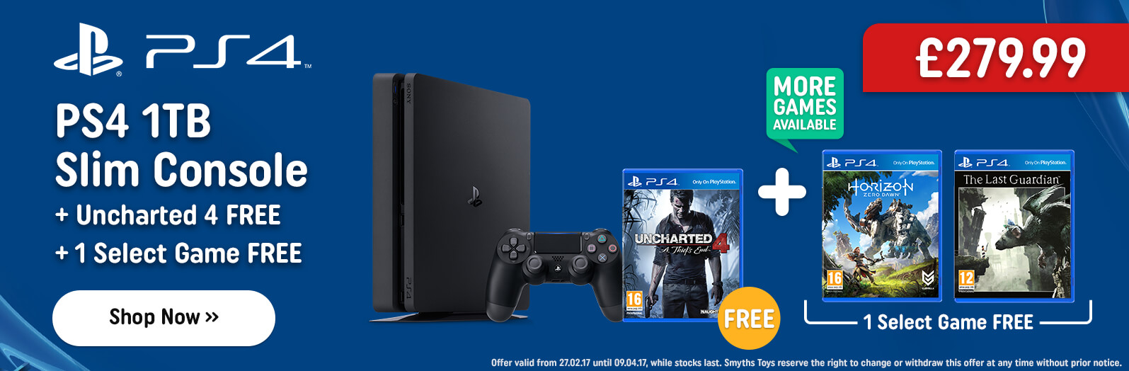 PS4 1TB Slim Console with FREE Horizon Zero Dawn and One Select Game