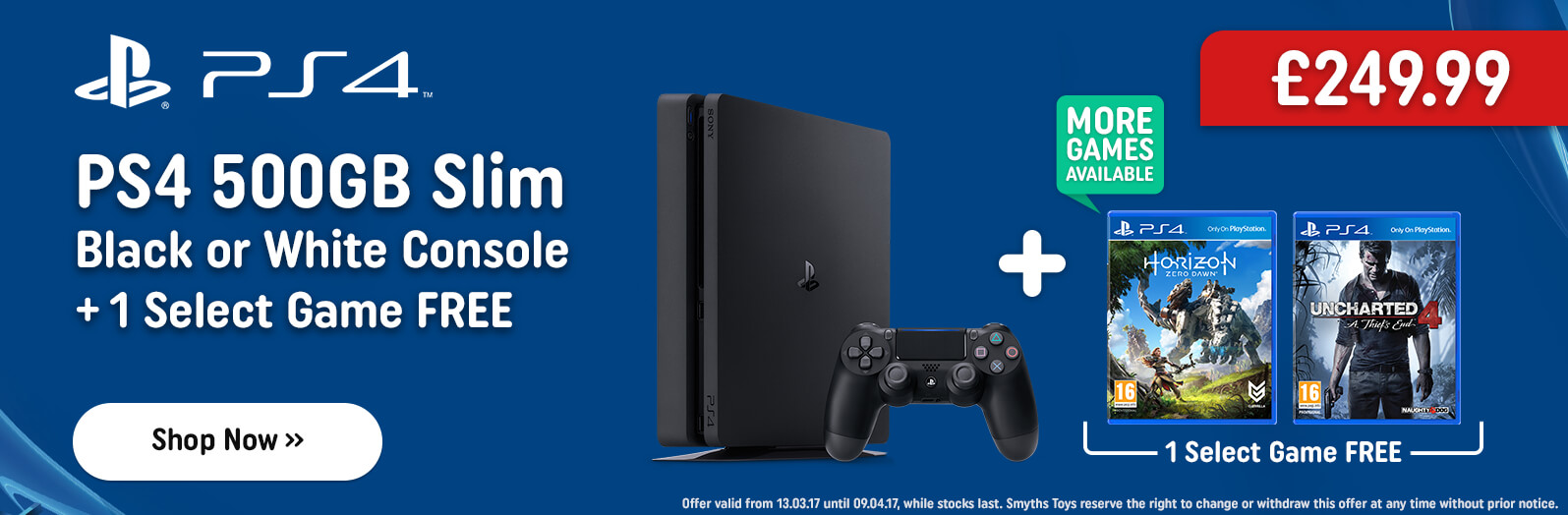 PS4 500GB Slim Console with one Select Game